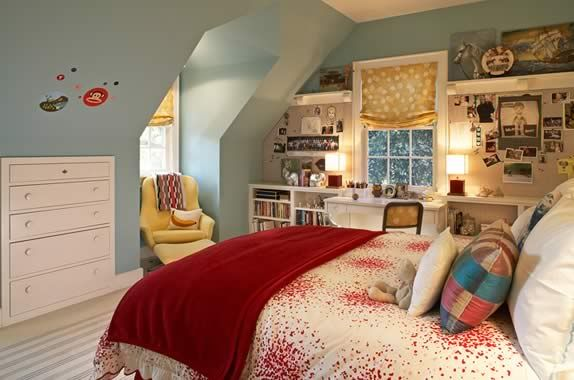 good use of space on end wall, like the chair in the dormer