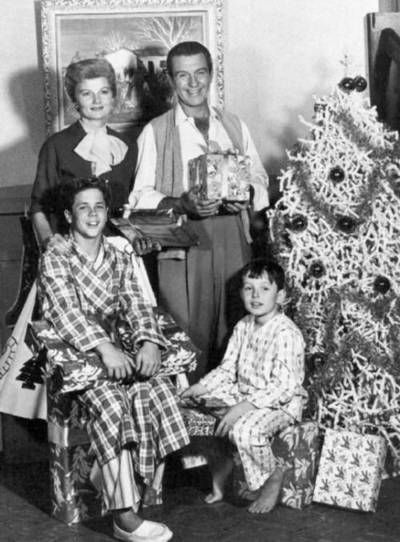 Which is creepier?  The tree or Ward's chest hair?  Leave It to Beaver / The Cleavers at Christmas vintage photo Hollywood t.v. show