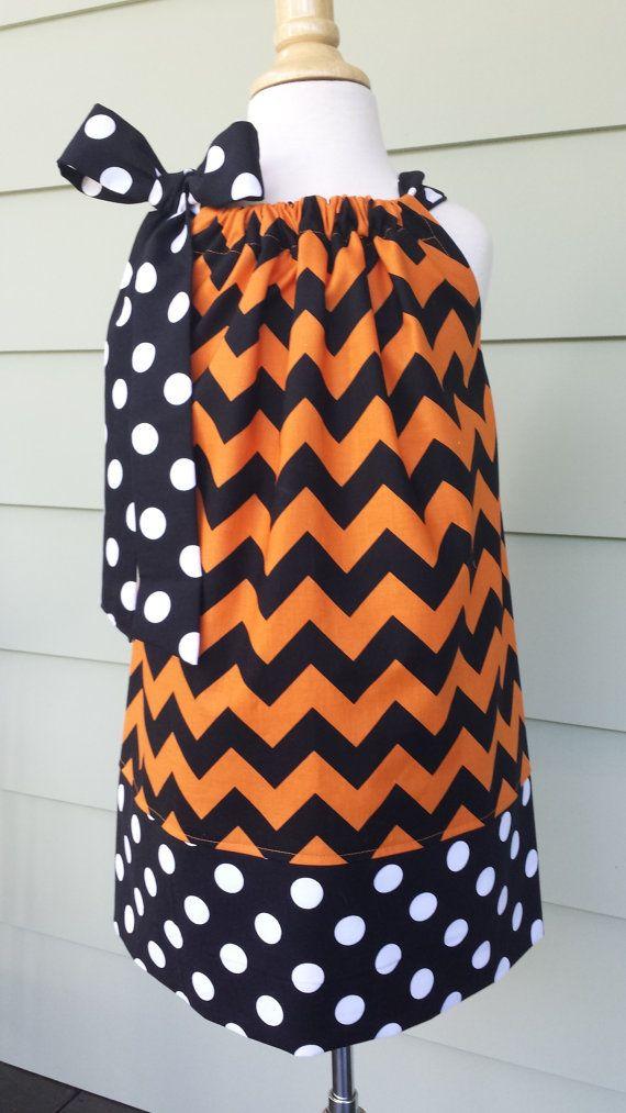 Girls Halloween Pillowcase Dress in orange & black Chevron, Riley Blake Fabric by Baby Harrill on Etsy, $20.00