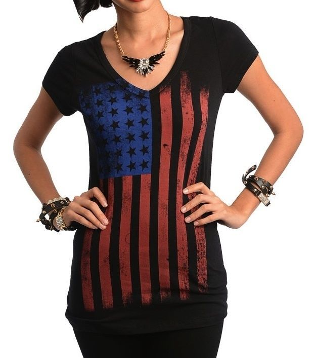 TRENDY BLACK AMERICAN FLAG PATRIOT T-SHIRT V-NECK TOP ROCK BAND FESTIVAL TEE TOP #shopjadedTiming #GraphicTee