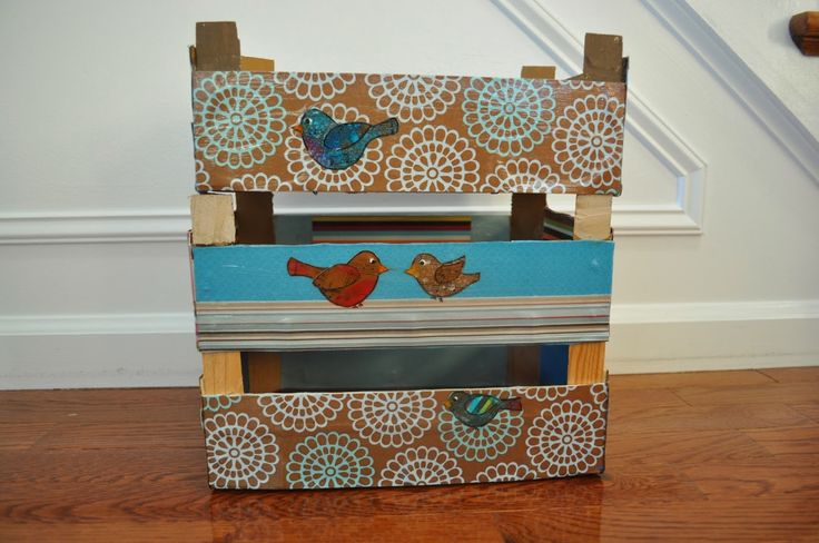 Directions on how to use scrapbook paper to Up Cycling Clementine Crate