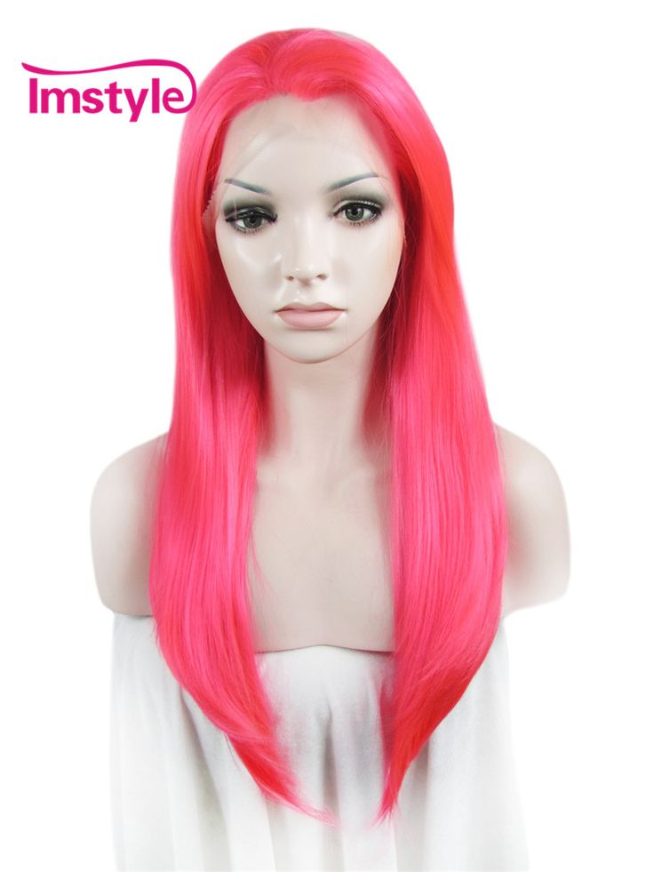 Heat resistant Synthetic Cosplay wigs Straight Pink 24 ...