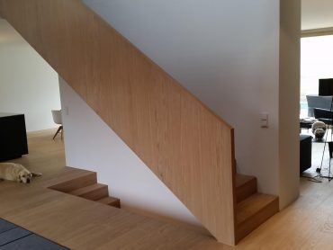 Wangenscheibentreppe/Geländerscheibentreppe in Eiche. Stufen und Setzstufen in Faltwerkoptik. Stufen in Wand mit Bolzen gummigelagert.