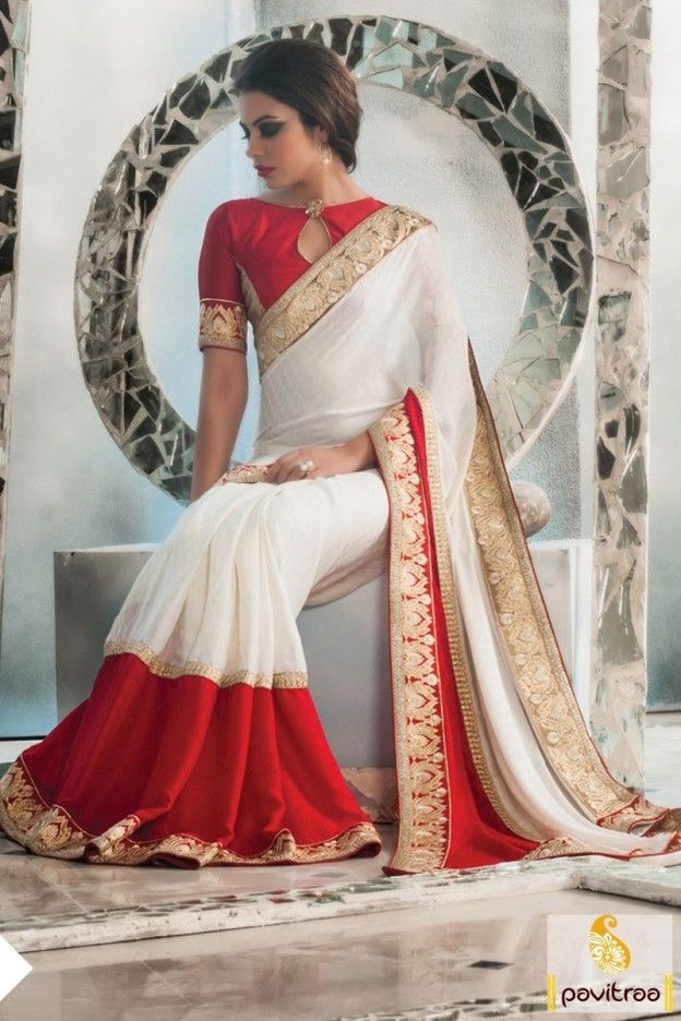 White red silk creape jacquard designer saree 2016 for new year occasion. This party wear saree looks fabulous and ready to blast your all new year party. #saree, #designersaree more: http://www.pavitraa.in/store/designer-collection/