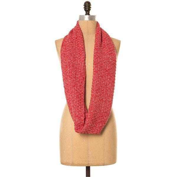 *NEW* Lee Garrett Scarf - Basketweave Knitted Loop Scarf - Cherry Red - Seasons Emporium - 2