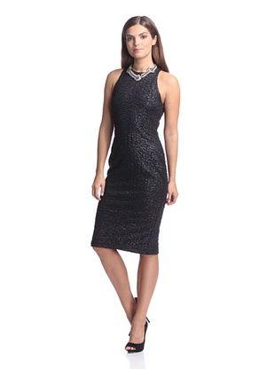 62% OFF Alexia Admor Women's Coated Rose Embellished Sheath (Black)