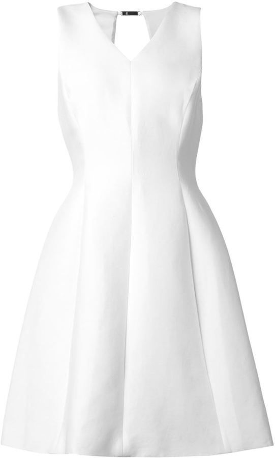 $581, White Skater Dress: Halston Heritage Flared Skater Dress. Sold by farfetch.com. Click for more info: https://lookastic.com/women/shop_items/301704/redirect