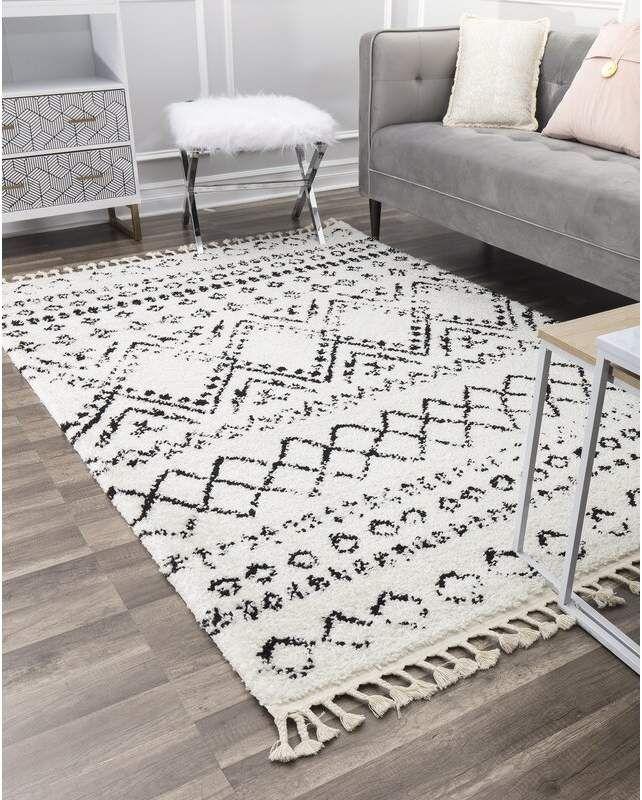 Cosmoliving By Cosmopolitan Reena White Black Area Rug White Rug Black Area Rugs Rugs In Living Room