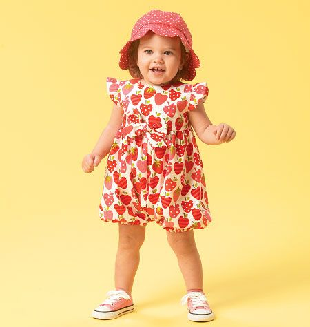 M6872 | Infants' Romper, Tops, Dress, Bloomers, Panties, Pants and Hat | Infants/Toddlers | McCall's Patterns