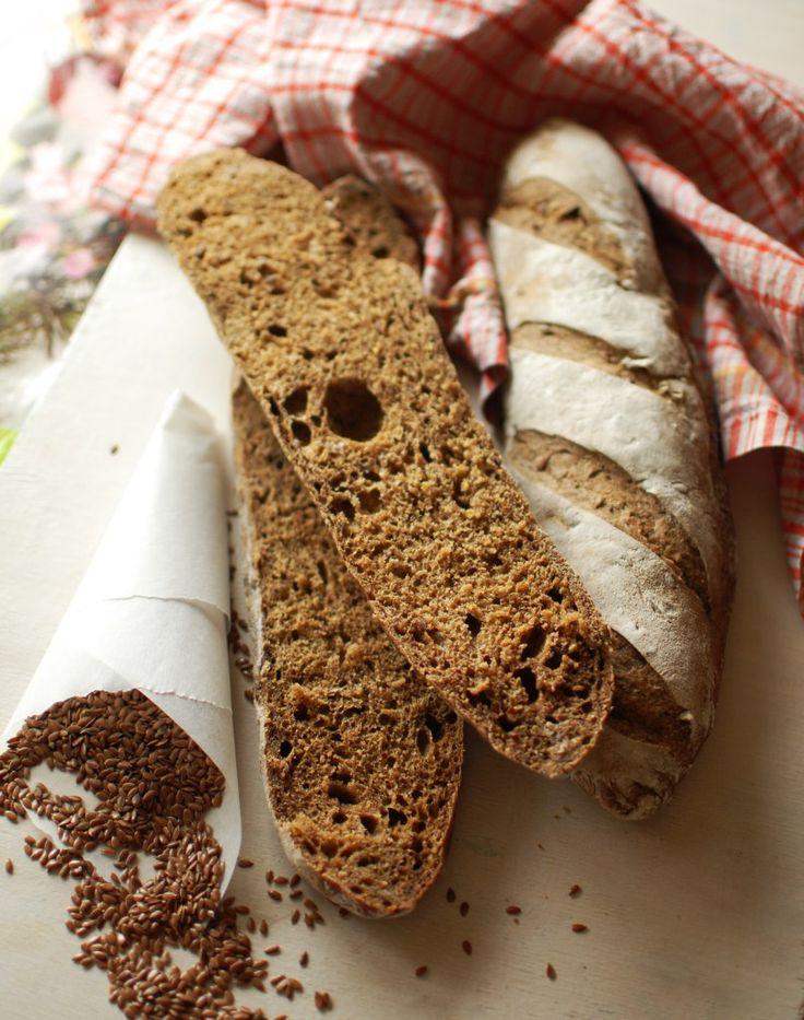 Пшеничный заварной хлеб с льняным семенем