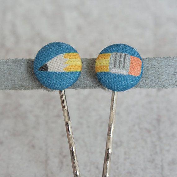 Zurück zu Schule Bleistift Stoff bedeckt Schaltfläche Bobby Pin-paar