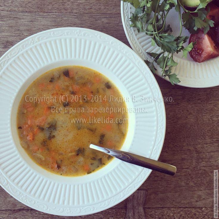 Манный суп с карри и овощами
