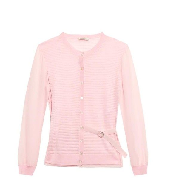 Nina Ricci Sheer-striped wool and silk-blend cardigan (795 CAD) ❤ liked on Polyvore featuring tops, cardigans, knitwear e light pink