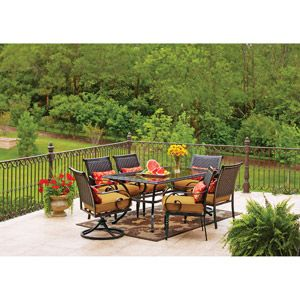 better homes and gardens englewood heights 7 piece patio dining set seats 6 798 - Better Homes And Gardens Rentals