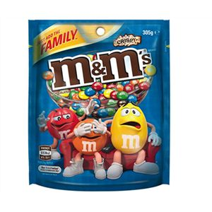 A bulk box of 12 M&Ms Crispy Bags 305g.