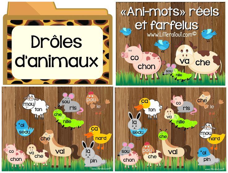 Activité Ani-mots réels et farfelus pour TBI (6-7 ans) : L'élève associe des syllabes présentées sur des illustrations de parties d'animaux, afin de reconstruire et lire des mots. L'élève assemble donc les têtes et les corps d'animaux. Par la suite, l'élève crée des nouveaux animaux farfelus et, par le fait même des mots farfelus, en mélangeant les syllabes, soit les têtes et les corps des animaux. Cette activité se prolonge dans une activité d'écriture,