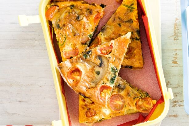 Not into sandwiches? Pack a punch with this tasty frittata that will please even the fussy eaters.