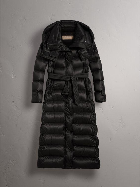 106634439496 Burberry - Detachable hood long down-filled black puffer coat