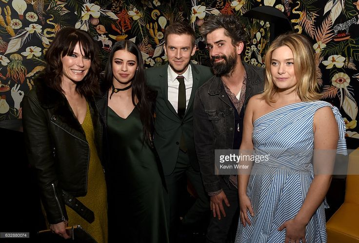 Actors Katie Aselton, Amber Midthunder, Dan Stevens, Hamish Linklater and Rachel Keller pose at the after party for the premiere of FX's 'Legion' at the Nightingale Plaza on January 26, 2017 in West Hollywood, California.