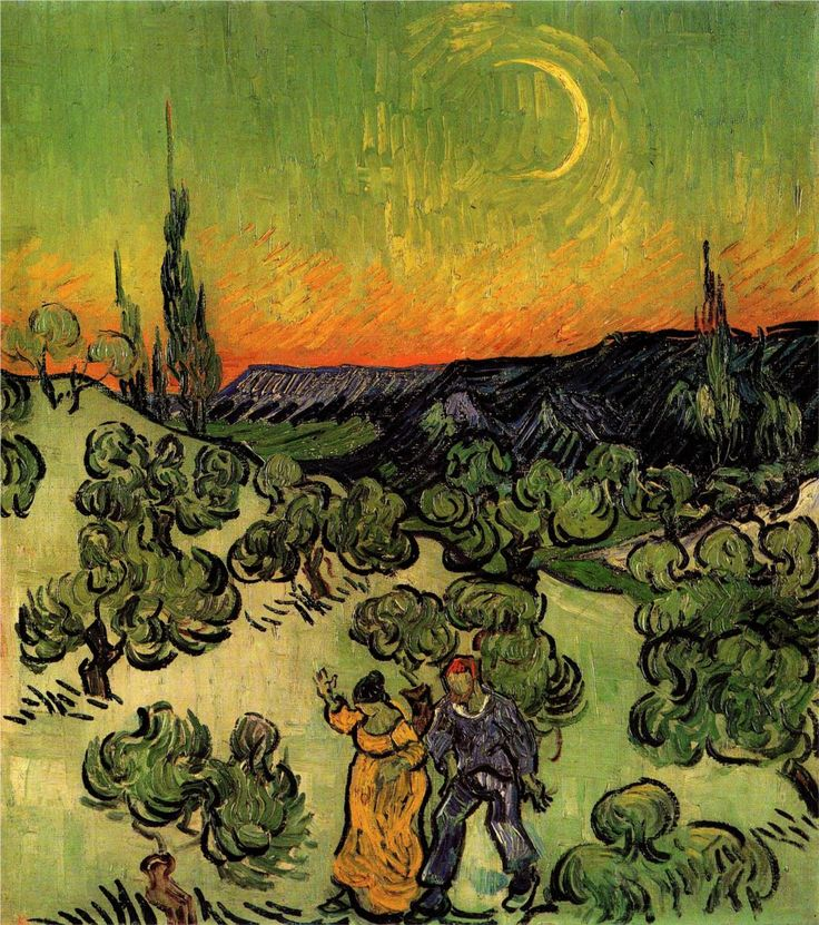 lonequixote: Landscape with Couple Walking and Crescent Moon ~ Vincent van Gogh