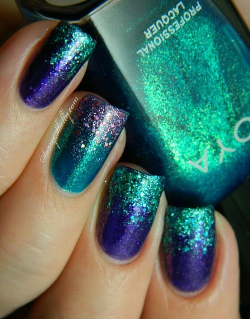 Peacock teal and blue glitter nails