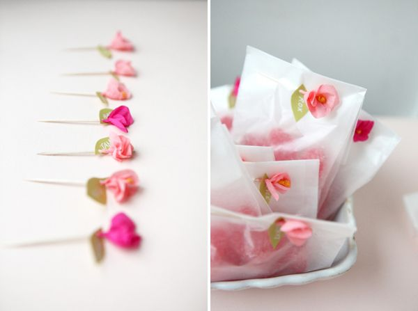 DIY mini crepe paper flower favors. So simple and pretty.
