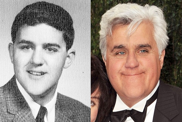 Jay Leno, The Tonight Show with Jay Leno:   Seen here as a senior at Andover High School in Andover, Massachusetts, Leno got his late-night start guest-hosting for Johnny Carson. He took the helm of The Tonight Show in 1992 and remained there until 2009, when Conan O'Brien took over. Less than a year later, Leno returned as host after the awkward late-night war between him, NBC, and Conan O'Brien.