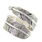 #10: シルバー 925 人気 シンプル イーグル フェザー 指輪 メンズ レディース ペア 男女 兼用 フリー サイズ リング