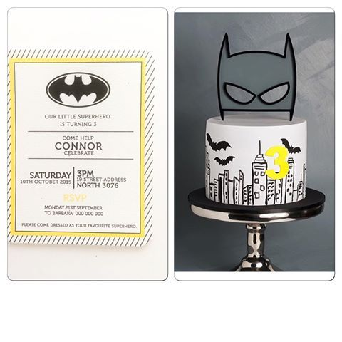 Batman invitation by IMPRINTABLES | cake perfection by @cake_ink