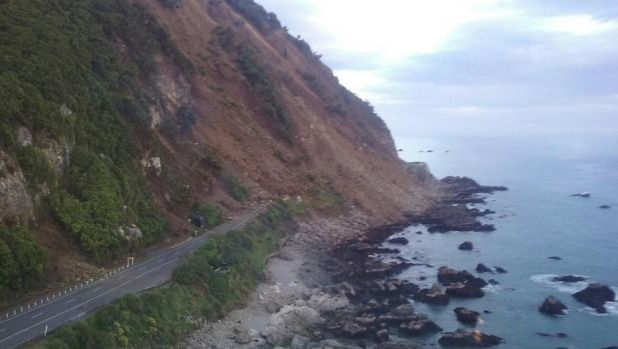 An earthquake damaged road near Kaikoura, The South Island, New Zealand