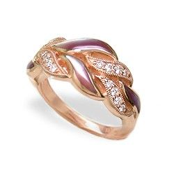 Rose Gold Ring with Pink Mother of Pearl Inlay and Diamonds - Rings - Jewelry Type
