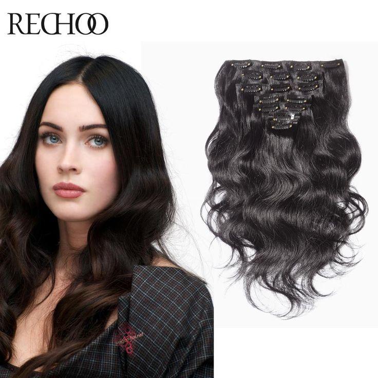 Extensiones de Clip Remy 100% Del Pelo Humano Natural Marrón Oscuro Clip En Extensiones de cabello 22 24 26 Pulgadas Brasileño Clip Onda Del Cuerpo Ins