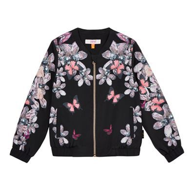 Baker by Ted Baker Girls' black floral print stone embellished bomber jacket | Debenhams