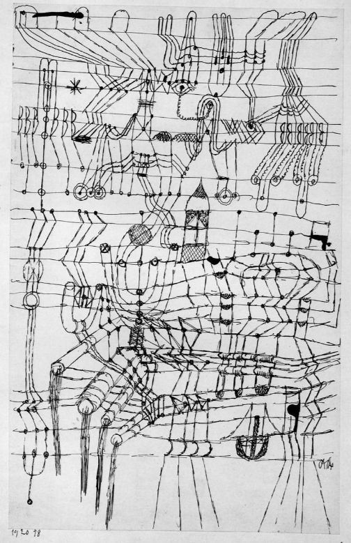 Line Art History : Paul klee drawing knotted in the manner of a net
