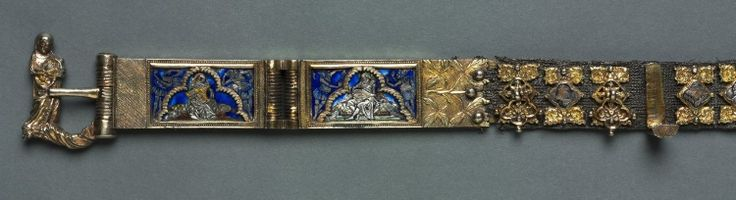 Belt for a Lady's Dress, c. 1375-1400 Italy, Siena?, 14th century  basse-taille enamel and gilding on silver, silver thread, gilt-silver buckle, cast and chased, Overall - h:236.50 w:2.90 d:0.60 cm (h:93 1/16 w:1 1/8 d:3/16 inches). Gift of the John Huntington Art and Polytechnic Trust 1930.742