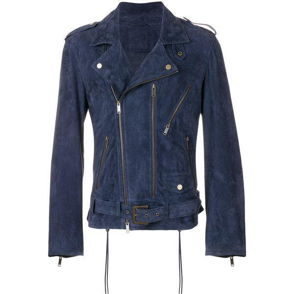 Desa 1972 classic biker jacket (3.655 BRL) ❤ liked on Polyvore featuring men's fashion, men's clothing, men's outerwear, men's jackets, blue, mens suede moto jacket, mens suede motorcycle jacket, mens suede jacket, mens suede biker jacket and mens blue jacket