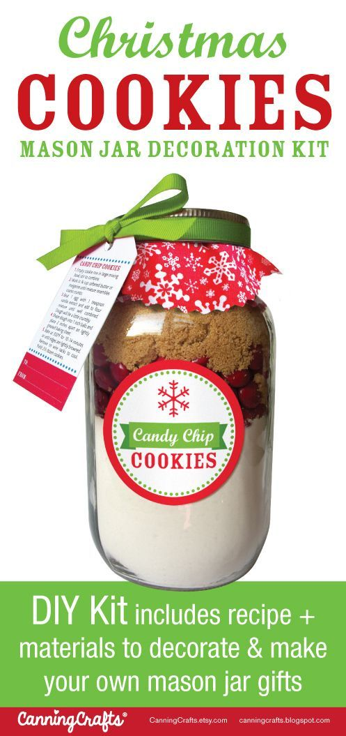 Cookie Mix in a Jar  |  DIY Kit includes materials to decorate 12 cookie mason jar gifts with a recipe card showing you how to pack them using your own ingredients & jars. 4 cookie jar mix recipes are available. Makes a great Christmas gift! CanningCrafts.com #masonjarcookiemix
