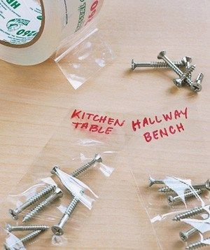 Store extra screws, nuts, and bolts in between packing tape and label with a Sharpie so you don't lose them.