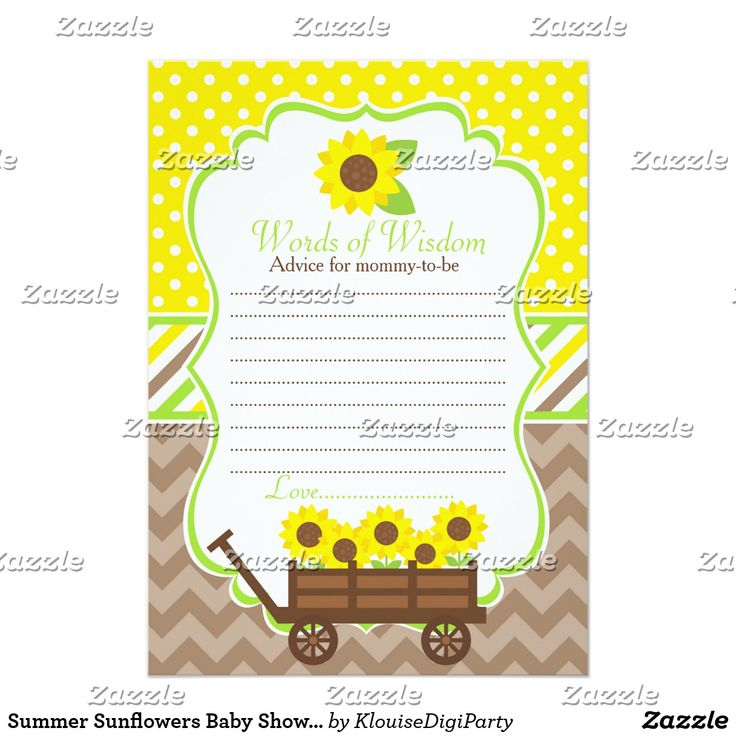 Summer Sunflowers Baby Shower Words of Wisdom Card