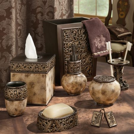Croscill Argosy Bath Collection Marbled Mocha With Sculpted Neoclassical Foliage Accents