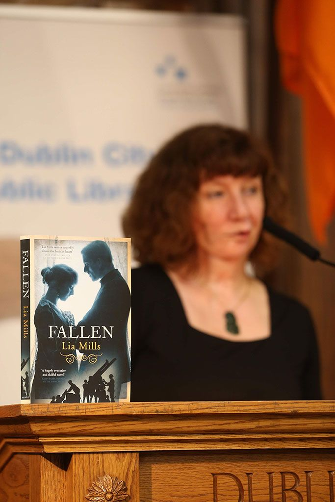 Fallen, chosen book for Dublin: One City, One Book, April 2016. With author Lia Mills, in the background. Also #2cities1book in partnership with Belfast!