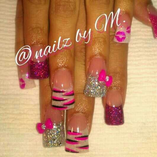 Pink silver and white zebra