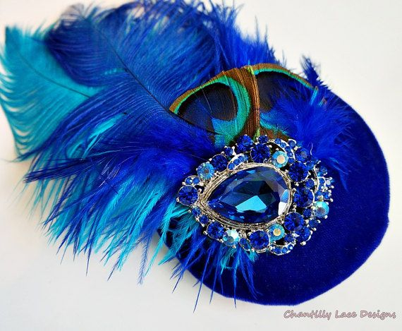 Blue Velvet Saphire Jeweled Peacock by ChantillyLaceDesigns