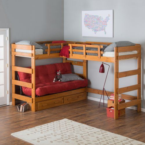 Woodcrest Heartland Futon Bunk Bed with Extra Loft Bed - Kids Storage Beds at Hayneedle -- Good idea for boys room...put 3rd bed parallel to futon on other side for extra sleeping.