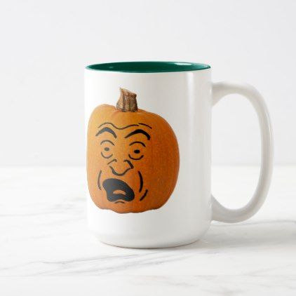 Jack o' Lantern Scared Face Halloween Pumpkin Two-Tone Coffee Mug - home decor design art diy cyo custom