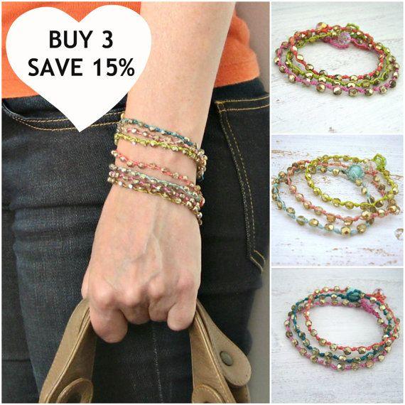 Set of 3 Bohemian Beaded Bracelets Save 15 by KrystenDesign, $51.00