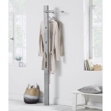 Garderobe Beton, Paneel: MDF, Bügel: Metall, Haken: Kunststoff B 30 x T 25 x H 185 cm