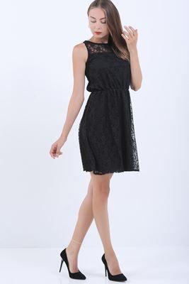 Detayları Göster Kolsuz Siyah Dantel Elbise