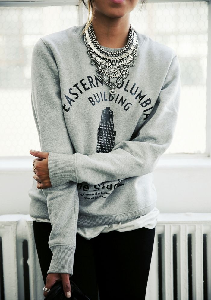sweatshirt & statement necklace | sincerely jules