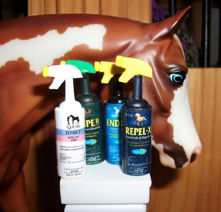 Awesome site has scale props like fly spray, dewormer, shavings, etc.